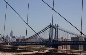 View over Manhattan Bridge and Lower Manhattan