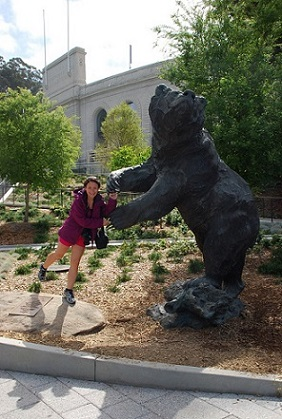 Kristin Dancing With The Bear At Berkeley University