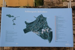 Sign with map of Castle Belvedere
