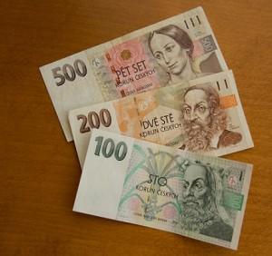 CZK bank notes 100, 200 and 500 Czech Koruna