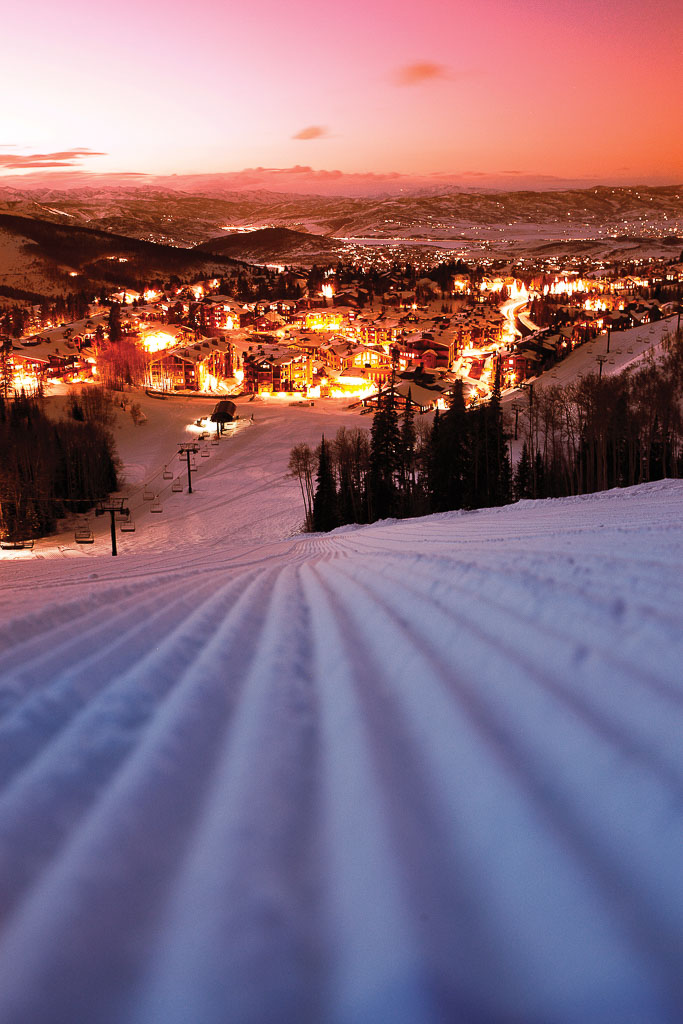 Silverlake Village at night Deer Valley Resort credit: Dan Campbell  provided by: Park City Tourism
