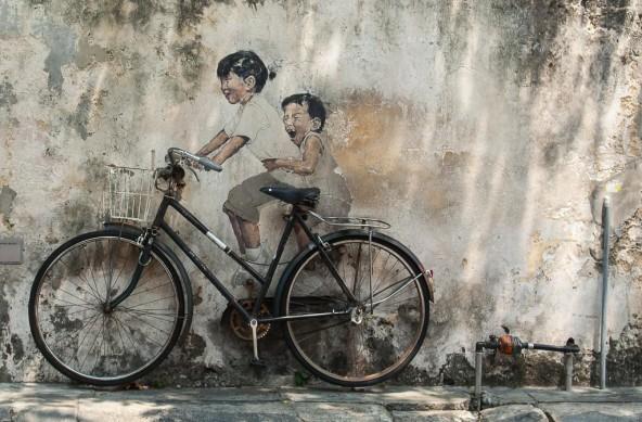 Photo Of The Week – Penang Street Art Kids on Bicycle in Georgetown Penang
