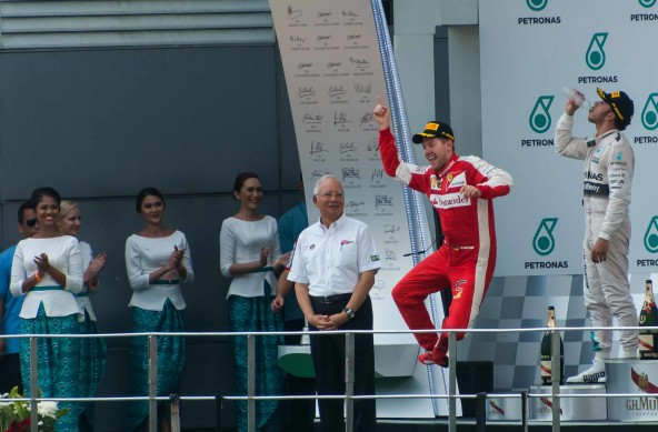 Photo Of The Week – Happy Winner Sebastian Vettel at the Malaysian GP 2015