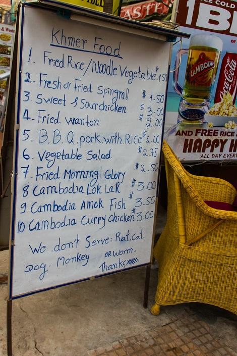 Funny sign at a restaurant in Siem Reap (read the last sentence)