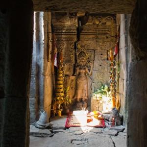 Hidden shrine at Preah Khan Temple Angkor Cambodia