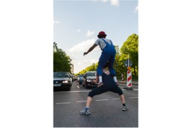 Photo Of The Week – Street artists at a traffic light in Berlin in Germany
