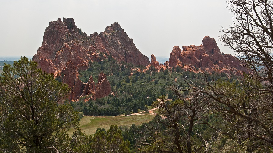 View of Garden of the Gods from Palmer Trail