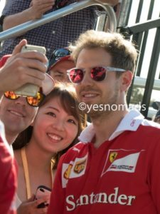 Sebastian Vettel with Fans along the Melbourne Walk during Australian Formula 1 Grand Prix in Melbourne