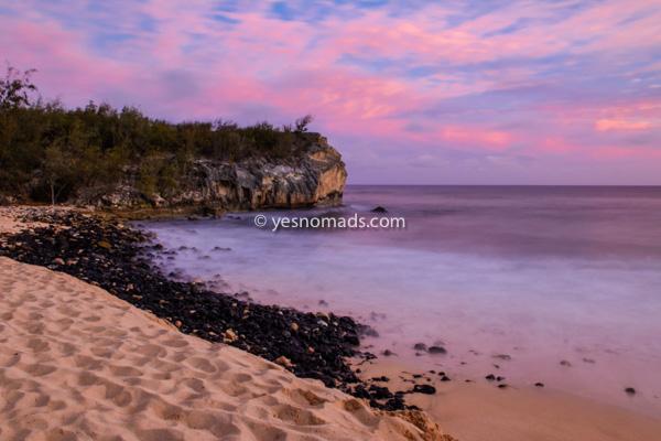 Shipwrecks Beach at sunset